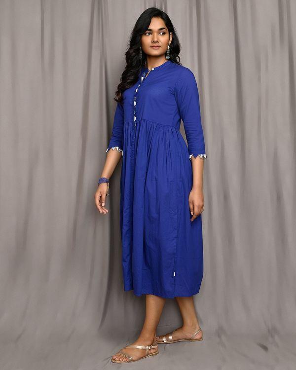 Royal blue gathered mandarin dress 1