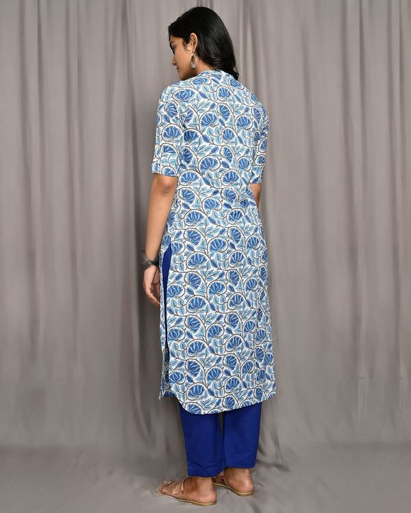 Blue and white floral jaal button down kurta 2