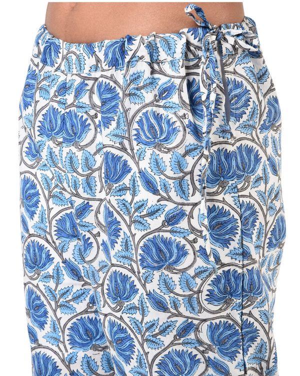 Blue floral jaal block printed palazzo 1