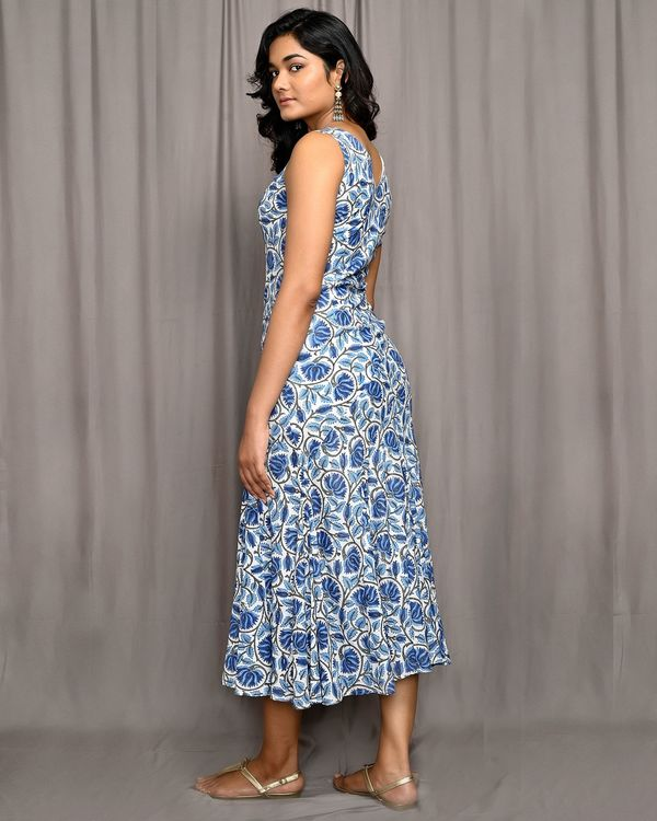 Blue floral jaal block printed flared dress 2