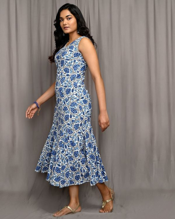 Blue floral jaal block printed flared dress 1