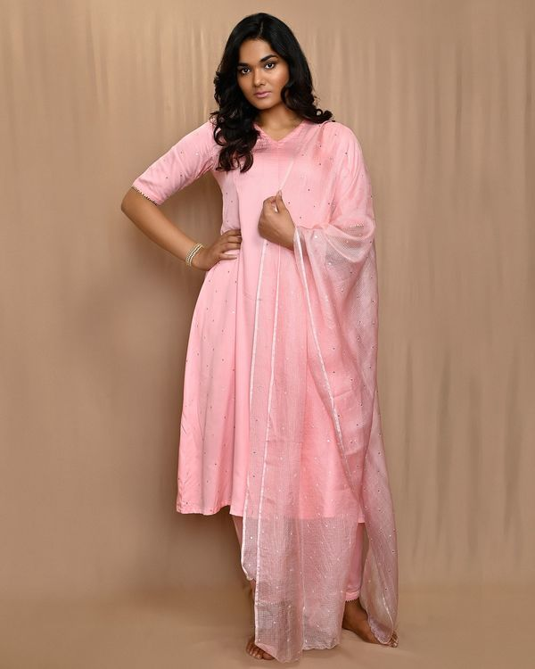 Baby pink paneled gota anarkali kurta and pants with dupatta - Set Of Three 3