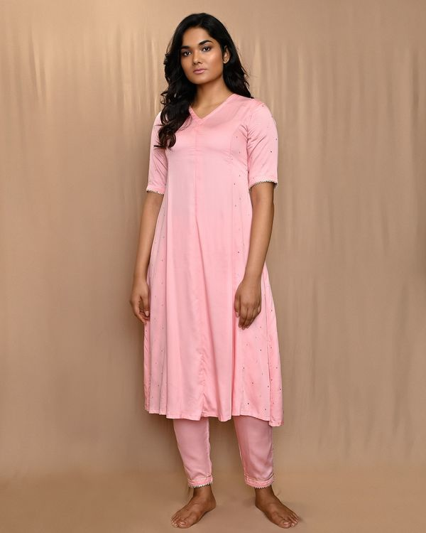 Baby pink paneled gota anarkali kurta and pants with dupatta - Set Of Three 2