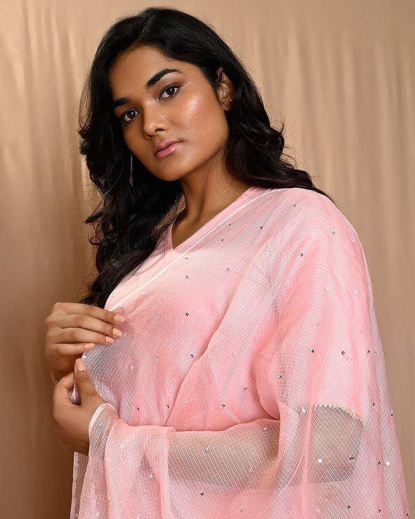 Baby pink paneled gota anarkali kurta and pants with dupatta - Set Of Three 1