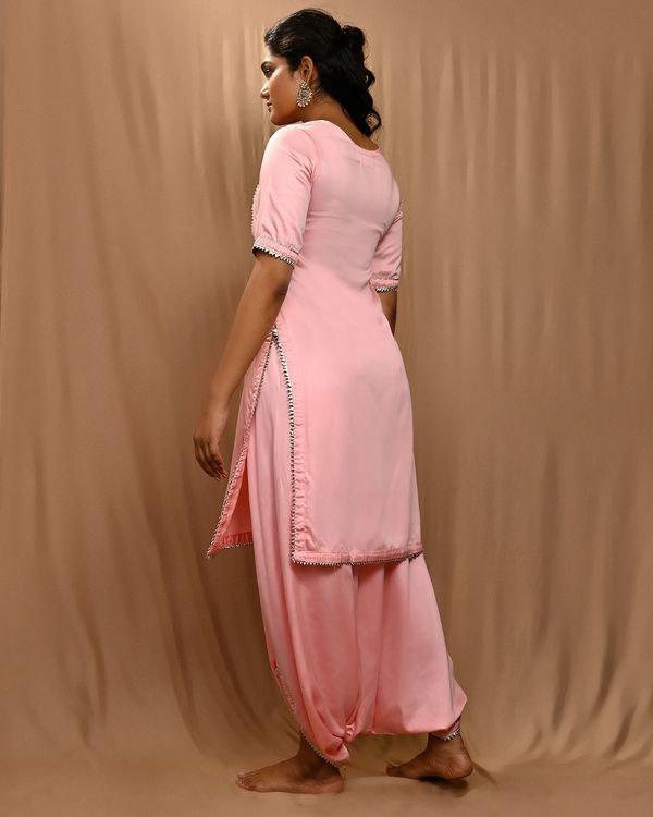 Baby pink embroidered yoke kurta with cowl pants - Set Of Two 3