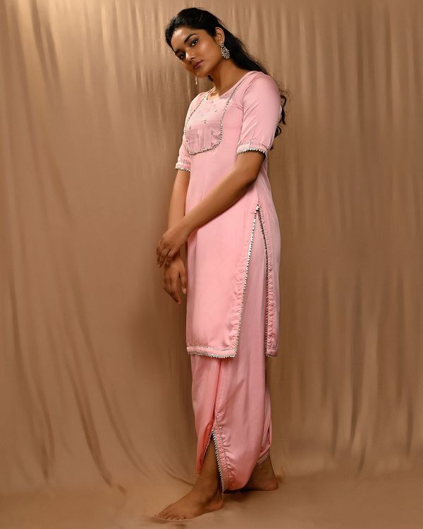 Baby pink embroidered yoke kurta with cowl pants - Set Of Two 2