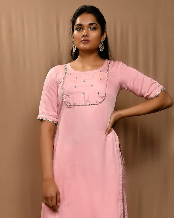 Baby pink embroidered yoke kurta with cowl pants - Set Of Two 1