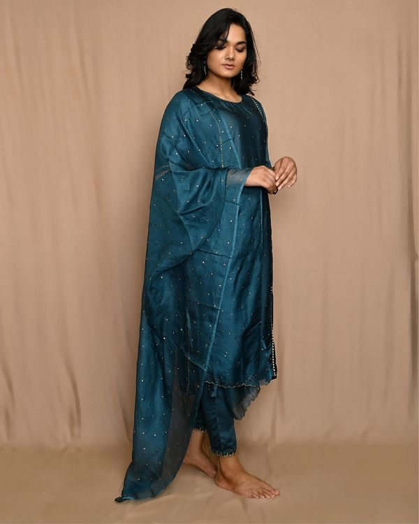 Teal green embroidered gota kurta with pants and dupatta - Set Of Three 1