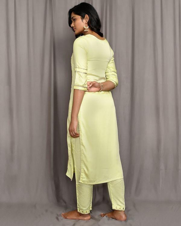 Lemon yellow embroidered gota kurta with pants and dupatta - Set Of Three 2