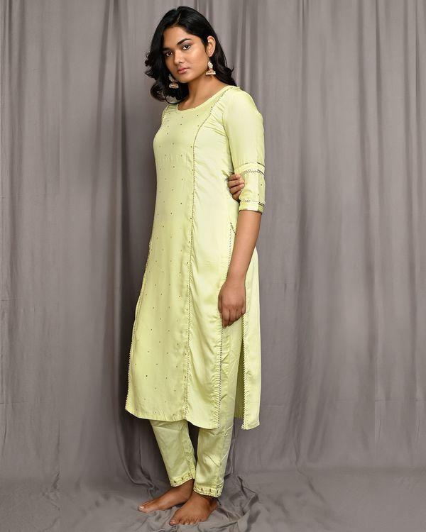 Lemon yellow embroidered gota kurta with pants and dupatta - Set Of Three 1
