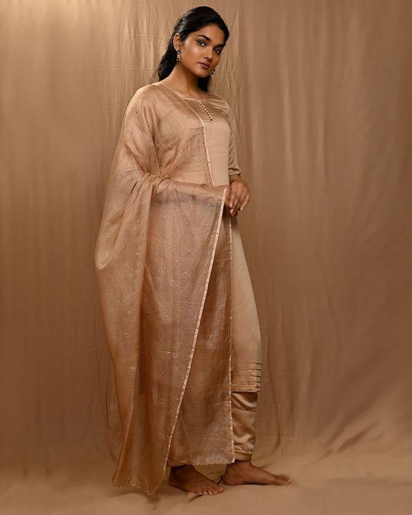 Beige gota work sequined kurta and pants with scalloped dupatta - Set Of Three 3