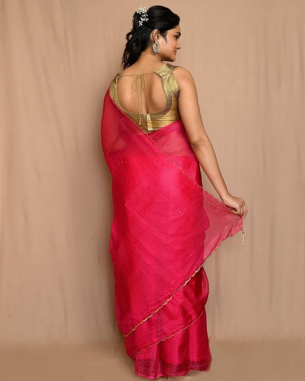 Rani pink embroidered kota silk scalloped sari 2