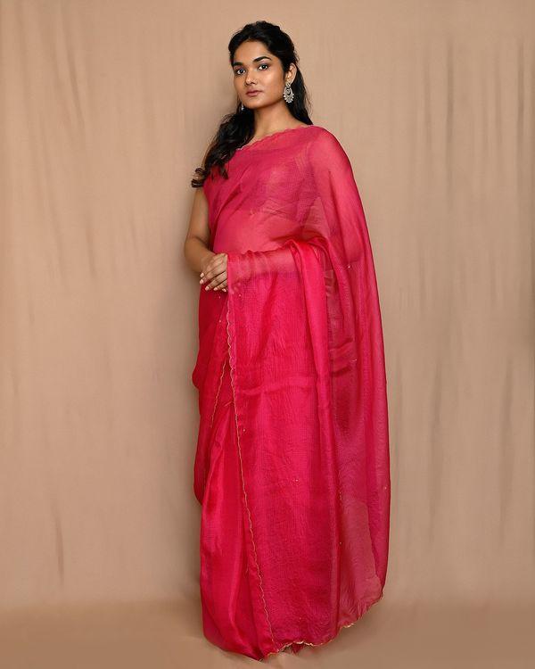 Rani pink embroidered kota silk scalloped sari 1