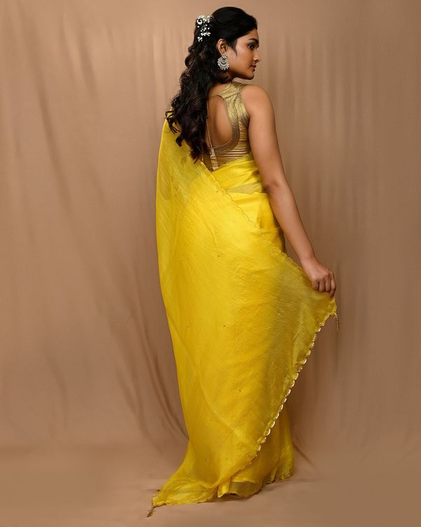 Yellow embroidered kota silk scalloped sari 2