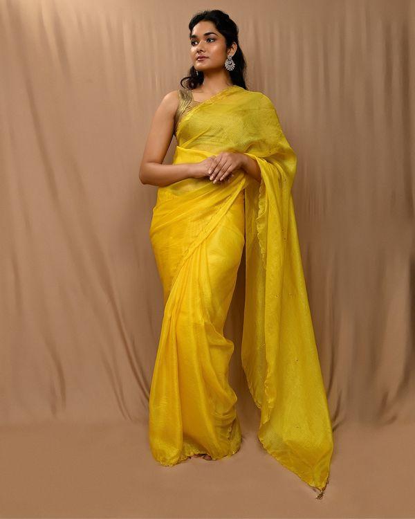 Yellow embroidered kota silk scalloped sari 1