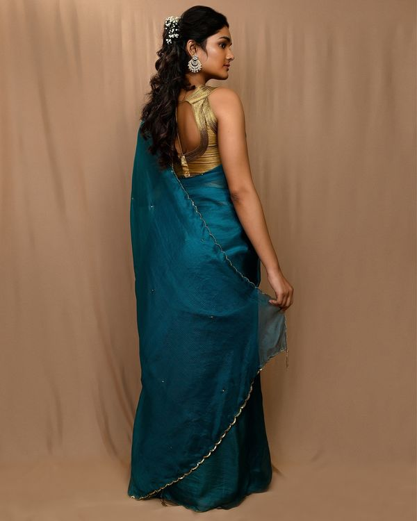 Teal green embroidered kota silk scalloped sari 2
