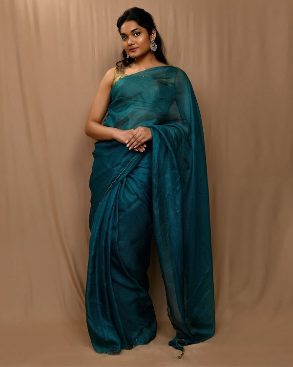 Teal green embroidered kota silk scalloped sari 1