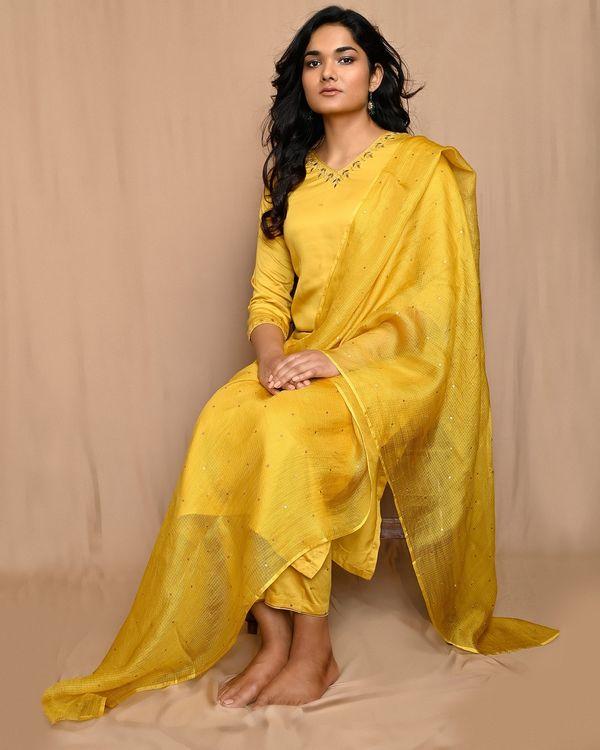Yellow embroidered modal silk kurta and pants with dupatta - Set Of Three 1