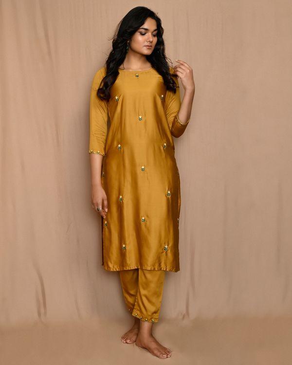 Mustard yellow embroidered kurta with straight pants and dupatta - Set Of Three 2