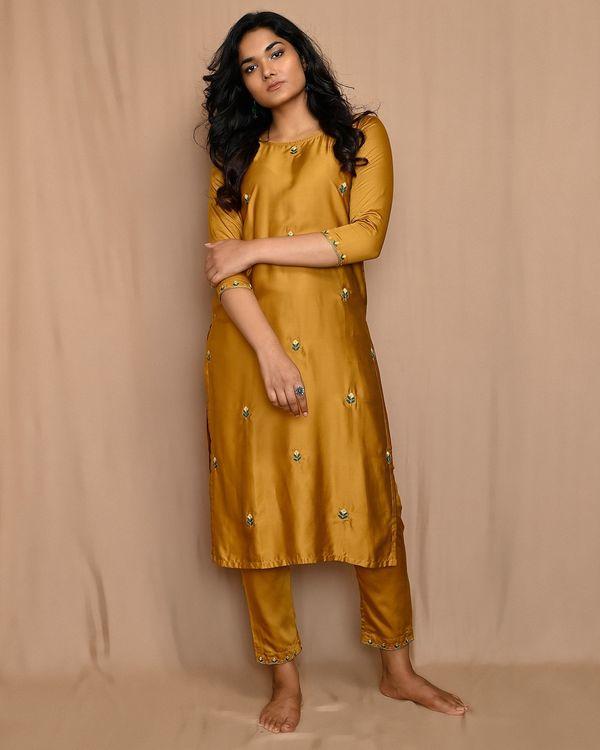 Mustard yellow embroidered kurta with straight pants and dupatta - Set Of Three 1