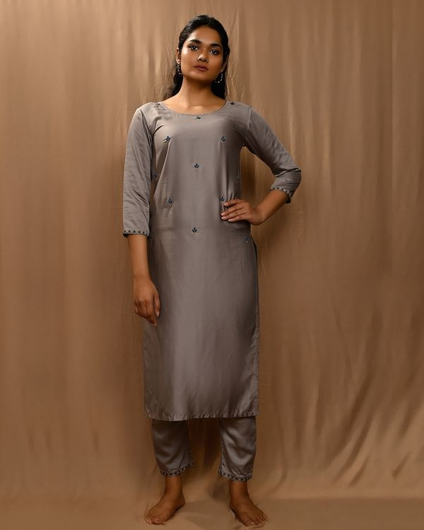 Grey embroidered modal silk kurta with straight pants and dupatta - Set Of Three 3