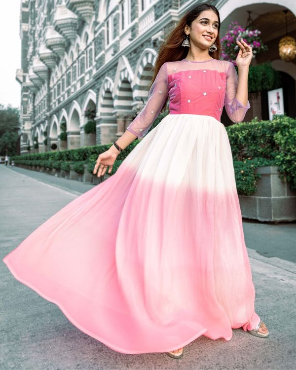 Ombre pink fan pleated dress 3