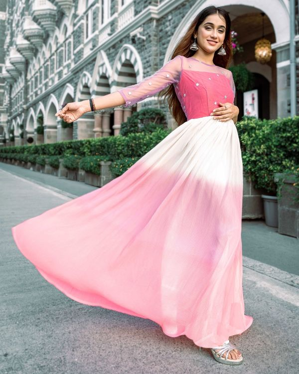 Ombre pink fan pleated dress 2