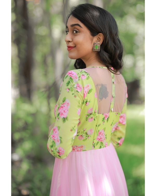 Green and baby pink floral printed net dress 3