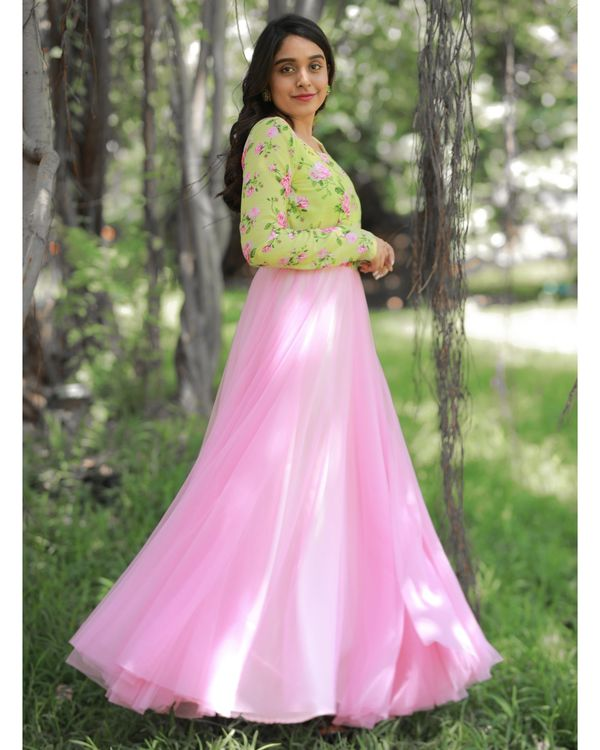 Green and baby pink floral printed net dress 2