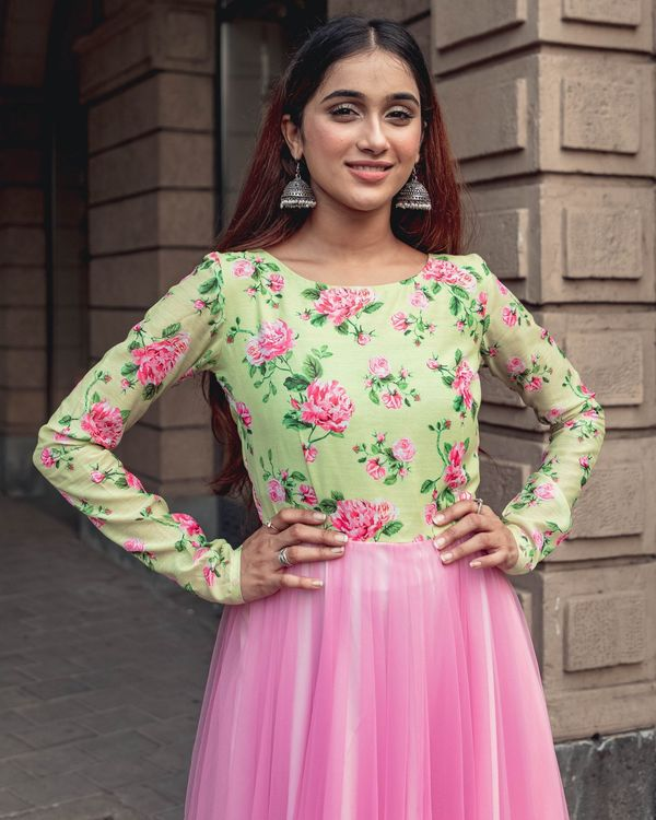 Green and baby pink floral printed net dress 1