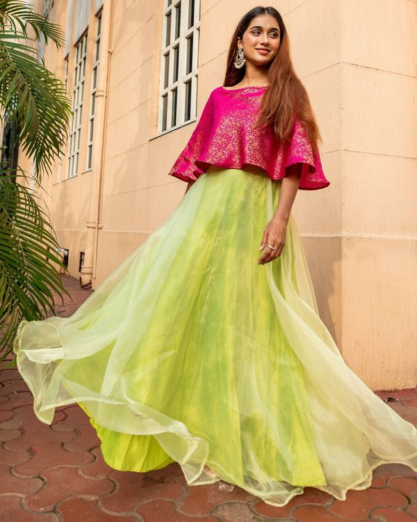 Rani pink and lime green floral jaal off shoulder flared dress 3