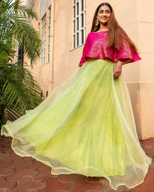 Rani pink and lime green floral jaal off shoulder flared dress 2