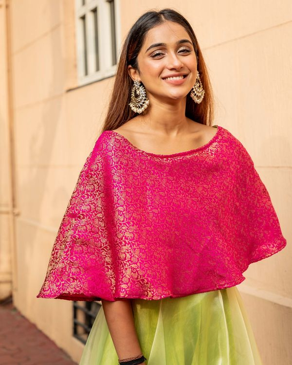 Rani pink and lime green floral jaal off shoulder flared dress 1