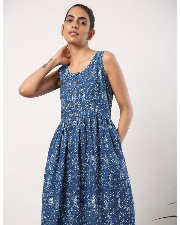 Indigo fish printed buttoned dress with pockets 1