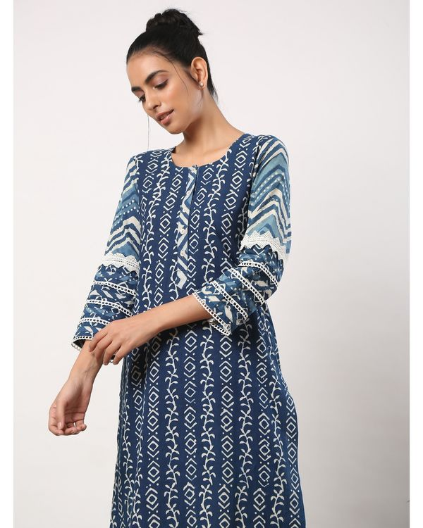 Indigo printed straight kurta with lace detailing 1
