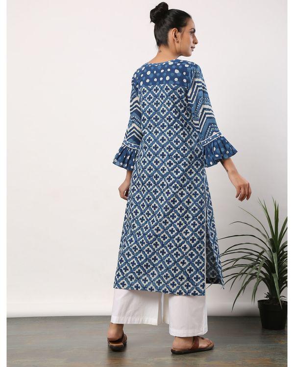 Indigo motif printed yoke kurta with frilled sleeves 3