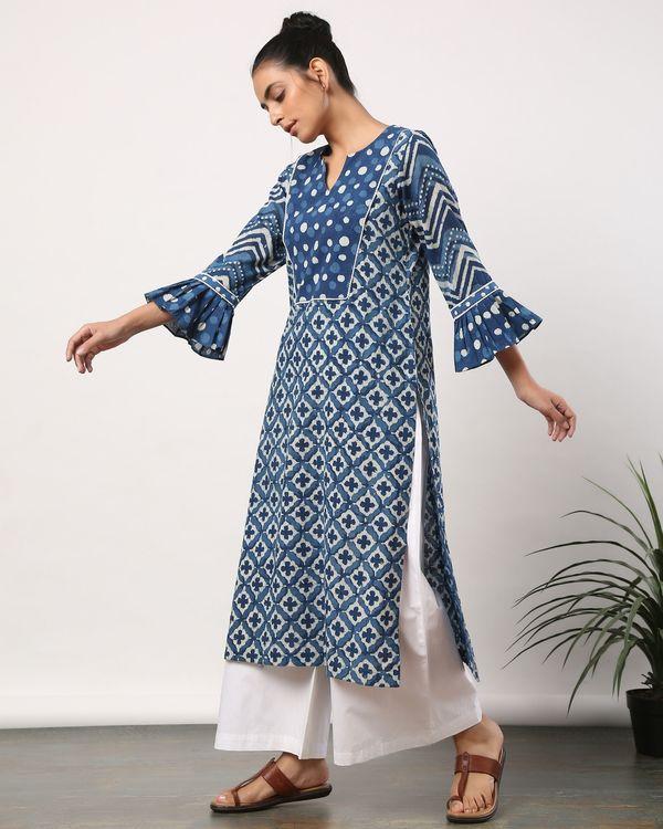 Indigo motif printed yoke kurta with frilled sleeves 2