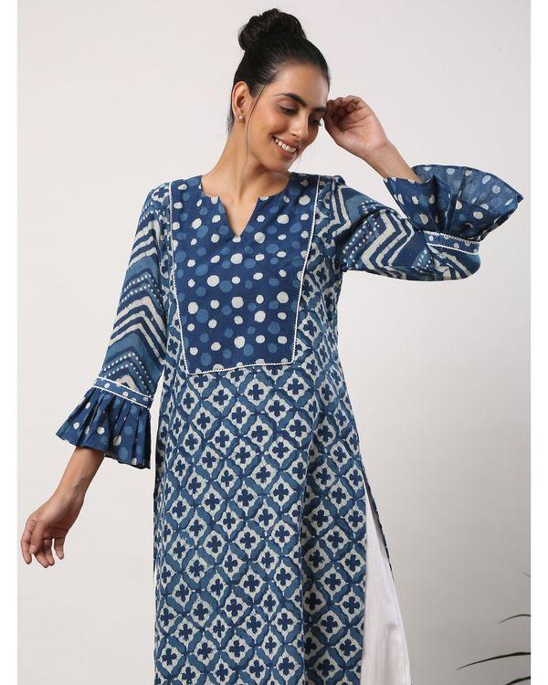 Indigo motif printed yoke kurta with frilled sleeves 1