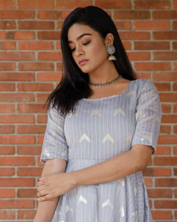 Light grey layered striped dress with sequins detailing 1