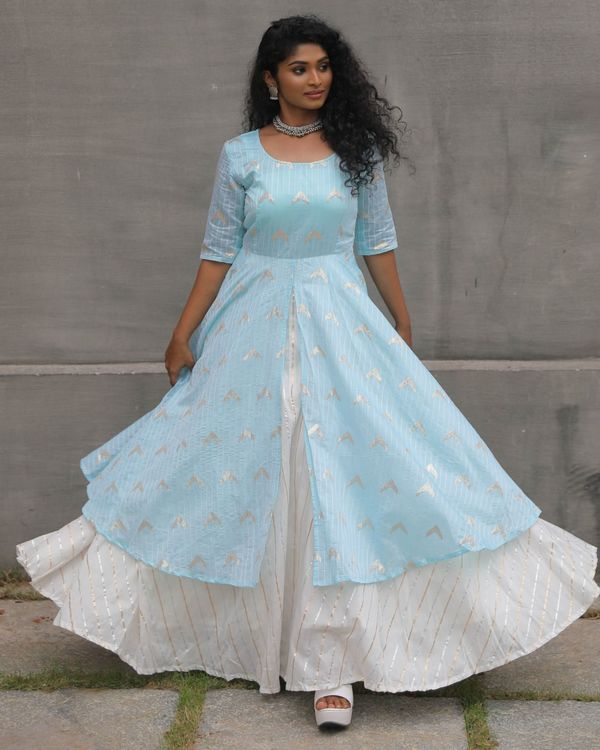 Turquoise layered striped dress with sequins detailing 2
