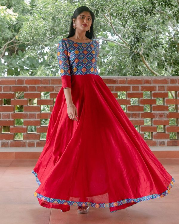 Red and blue patola printed flared dress 3