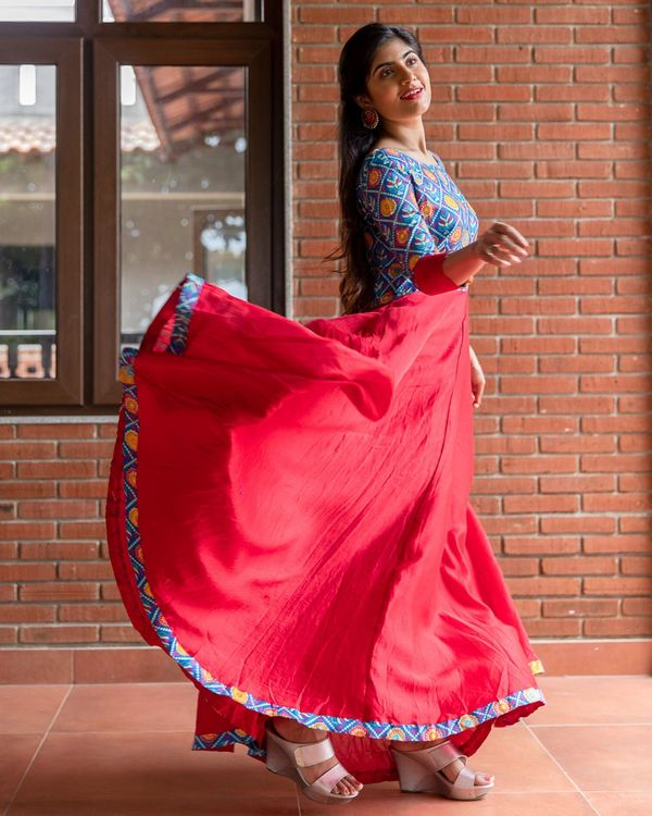 Red and blue patola printed flared dress 2