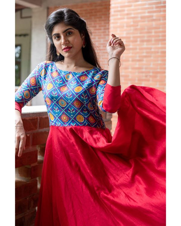 Red and blue patola printed flared dress 1