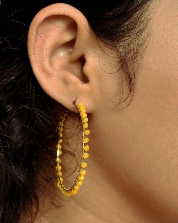 Yellow Beaded hoop earrings 1