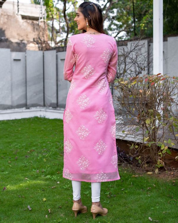 Rose pink embroidered kota kurta with dupatta - Set Of Two 4