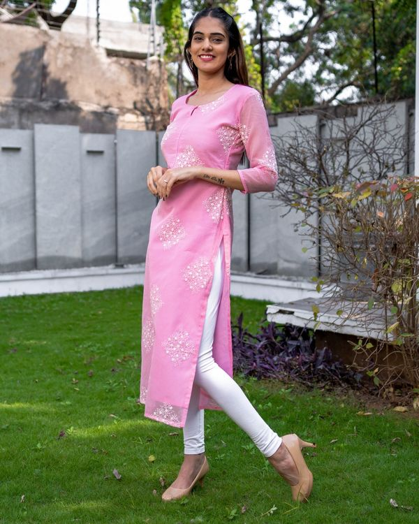 Rose pink embroidered kota kurta with dupatta - Set Of Two 2