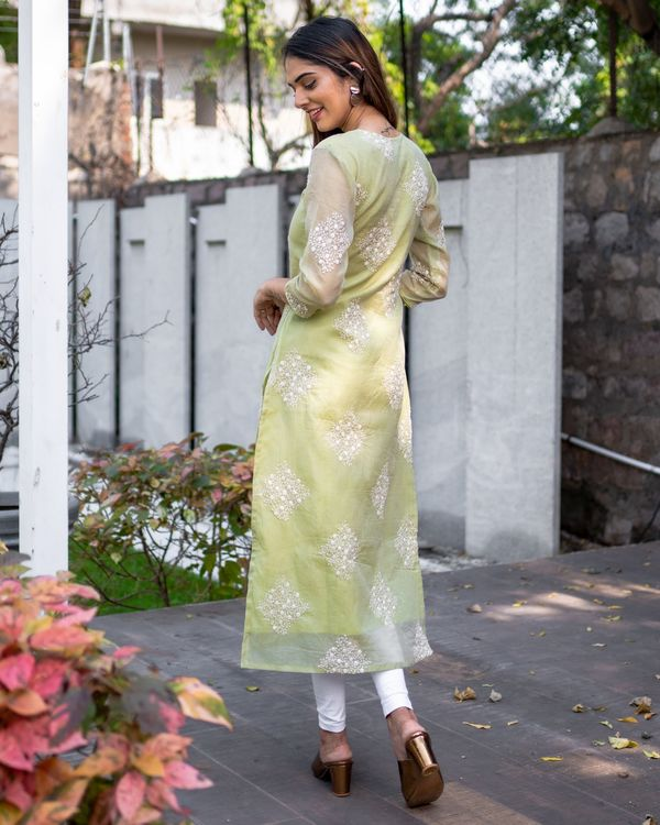 Light olive green embroidered kota kurta with dupatta - Set Of Two 3