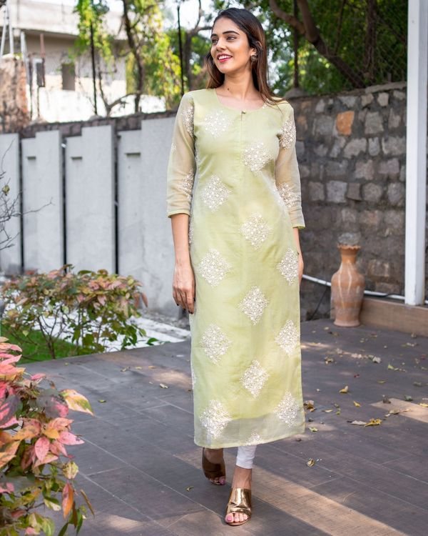 Light olive green embroidered kota kurta with dupatta - Set Of Two 2