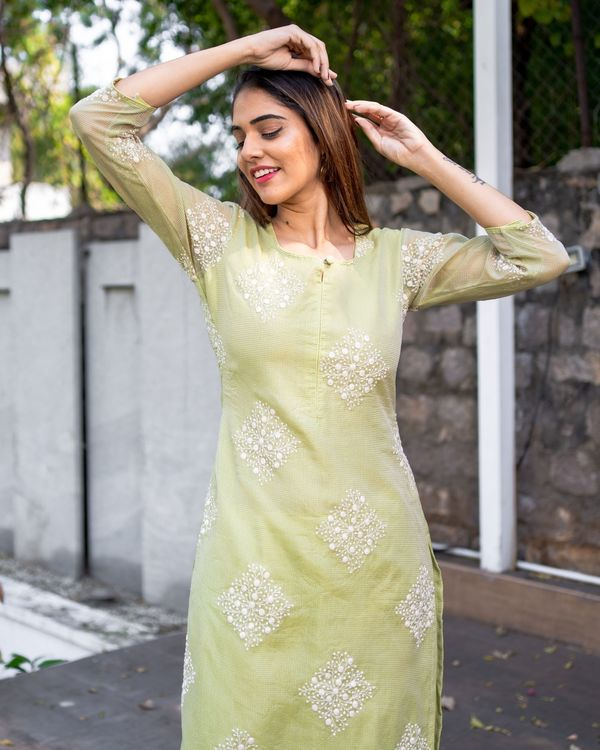 Light olive green embroidered kota kurta with dupatta - Set Of Two 1