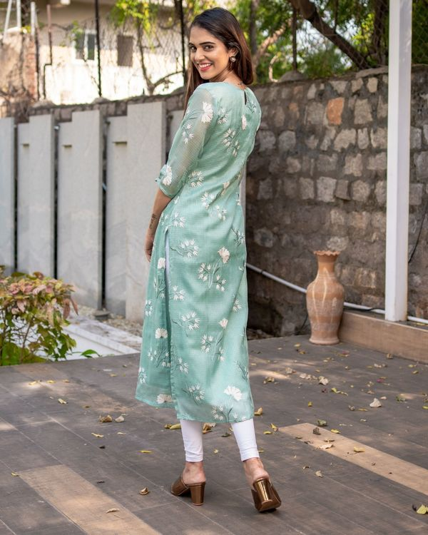 Light teal blue floral embroidered kota kurta with dupatta - Set Of Two 4